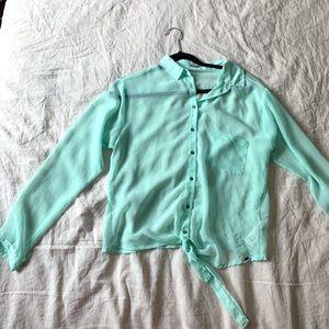 Mint Green Chiffon Tie-front Blouse
